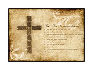 Ten Commandments 10 Cross Christian Quote Picture Wall Art Print クロスキリスト見積もり画像壁