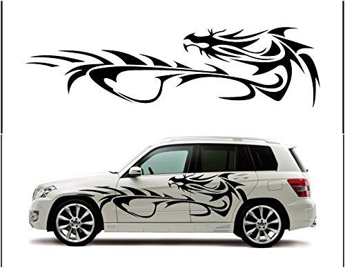 ノーブランド ドラゴン 龍 竜 トライバル柄のような雰囲気で龍を抽象化 独創性に富んだデザイン(左右SET)