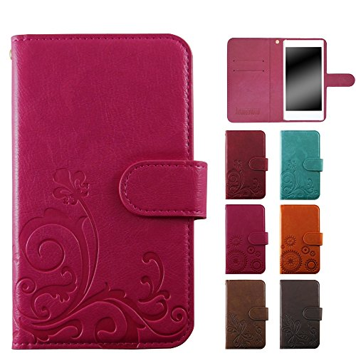 ホワイトナッツ LG G3 Beat LG-D722J ケース 手帳 エンボスデザイン ピンク/百合 オーダー スマホケース 手帳型 全機種対応 カバー WN-OD175236