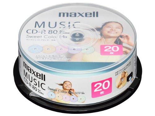 maxell 音楽用CD-R インクジェットプリンター対応「Sweet Color Mix Series」 80分 (20枚ス CDRA80PSM.20SP
