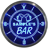 ncpv-tm Beer Mug Bar Personalized Your Name Pub Sign Neon LED Wall Clock by AdvPro Clock Custom