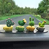 Car Dashboard Ornament Cute Green Plant Cactus Small Potted Spring Office Cab Small Gadget Decoration Interior