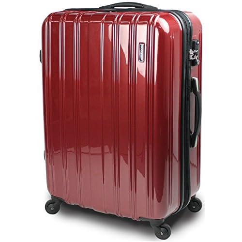 スーツケース TSAロック 搭載 超軽量 レグノライト2016~3サイズ( 大型 ジャスト型 中型 ) ミラー加工 旅行かばん キャリーバッグ トランク 【SUCCESS サクセス】(中型 66㎝, ヴェネシアンレッド)