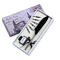 (Black) - FUNRUI Vintage Feather Pen Set Antique Writing Feather Quill Dip Pen Calligraphy Quill Fountain Pen with Empty Ink Bottle and 6 Pcs Metal NIB Set (Black)