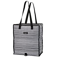 PackIt Freezable Grocery Shopping Bag with Zip Closure, Wobbly Stripes