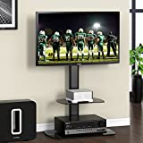 FITUEYES Universal Floor Cantilever TV Stand with 2 Glass Storage Shelf fit 32 to 55 inch Screen Black TT206501GB