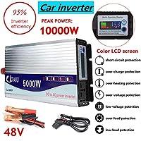 インバーター12V / 24V / 48V 220V 5000W 10000Wピーク修正正弦波電源変圧器インバーターコンバーター+ LCDディスプレイ,48v