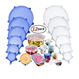 YOMYMDStretch Silicone Covers, 12 Packs of Different Sizes Silicone Cover for Foods, Reusable and Expandable Covers for Cookware and Freezer Cups