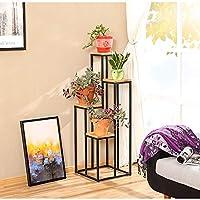 HBY 植物スタンド 屋内屋外植木鉢メタルラック キャビネットフラワースタンド 7金属植物棚ガーデンテラス フラワースタンド (Color : Iron+wood, Size : S-100)