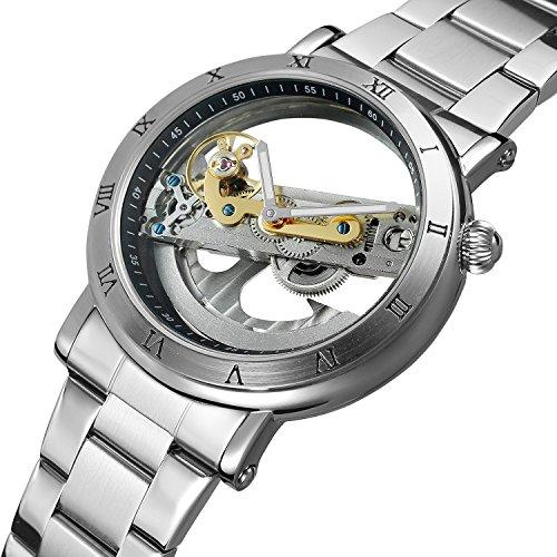 SweetBless 出品 腕時計メンズ 究極のスケルトン 夜光 格好良い 機械式 シルバー