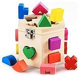 知育玩具 木のオモチャ 積み木 木製 立体パズル パズルボックス カラフル ブロック 【 子ども お祝い プレゼントに 】(15ピース)