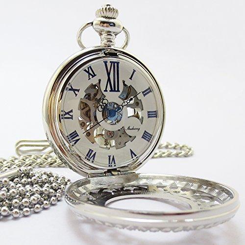 『手巻き式 懐中時計 フックチェーン + ボールチェーン/ 革紐 + 化粧箱 セット (シルバー)』の2枚目の画像