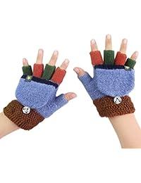 子供手袋 グローブ 半指 指なし ミトンカバー付き 2way スマホ対応 配色設計 カラフル あったか 防寒 かわいい ファッション小物 アウトドア クリスマス プレゼント 5-10歳 男の子 女の子 秋冬 5色