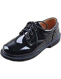 [ミコプエラ] 子供 靴 フォーマル シューズ エナメル オックスフォード 男の子 ジュニア キッズ レザー 履きやすい 紐靴 革 フラット 入学式 卒業式 結婚式 発表会 七五三