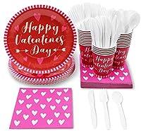使い捨て食器セット - 24人分 - バレンタインパーティー用品 ハッピーバレンタインデーハートデザイン プラスチックナイフ スプーン フォーク 紙皿 ナプキン カップ レッド ホットピンク