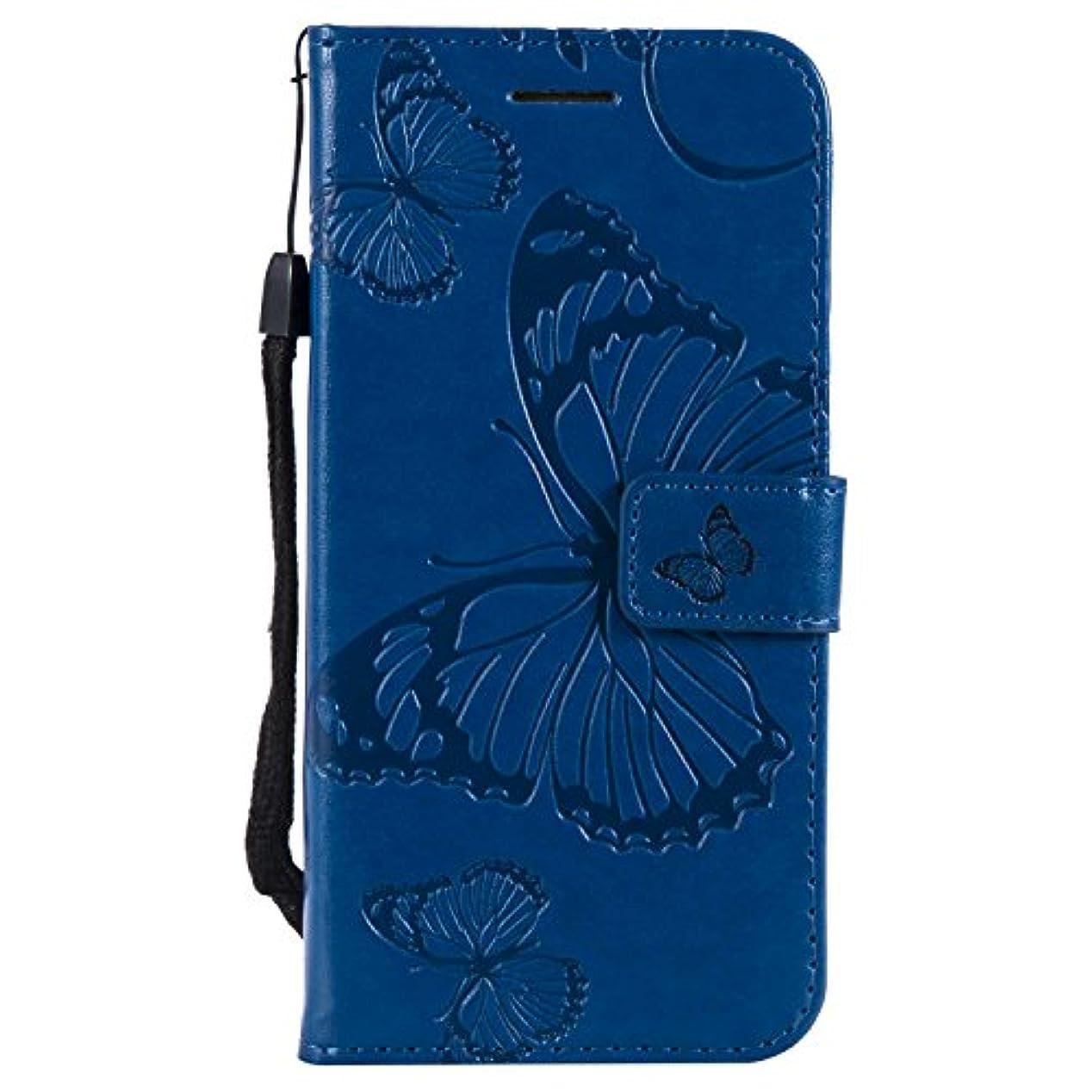 親指リル致命的CUSKING Galaxy S7 ケース Galaxy S7 カバー ギャラクシ 手帳ケース カードポケット スタンド機能 蝶柄 スマホケース かわいい レザー 手帳 - ブルー