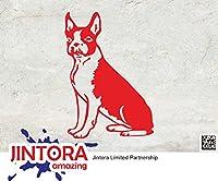 JINTORA ステッカー/カーステッカー - BOSTON - Dog - ボストン - 犬 - 101mm x139mm - JDM/Die cut - 車/ウィンドウ/ラップトップ/ウィンドウ- 赤