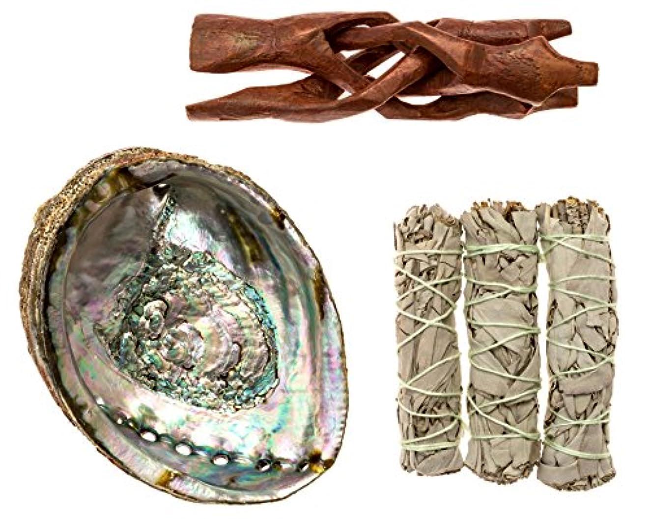 便宜地中海想定するPremium Abalone Shell with木製三脚スタンドと3カリフォルニアホワイトセージスマッジSticks for Incense燃焼、Home Fragrance、エネルギーClearing、ヨガ、瞑想。...