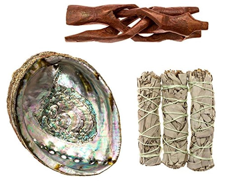叱る消毒剤許可するPremium Abalone Shell with木製三脚スタンドと3カリフォルニアホワイトセージスマッジSticks for Incense燃焼、Home Fragrance、エネルギーClearing、ヨガ、瞑想。...