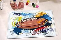 LB American Football Painting Teensバスルームラグ、ソフトマイクロファイバーサーフェスノンスリップゴムBacking、アメリカのスポーツデコレーション、バス15x 23インチ