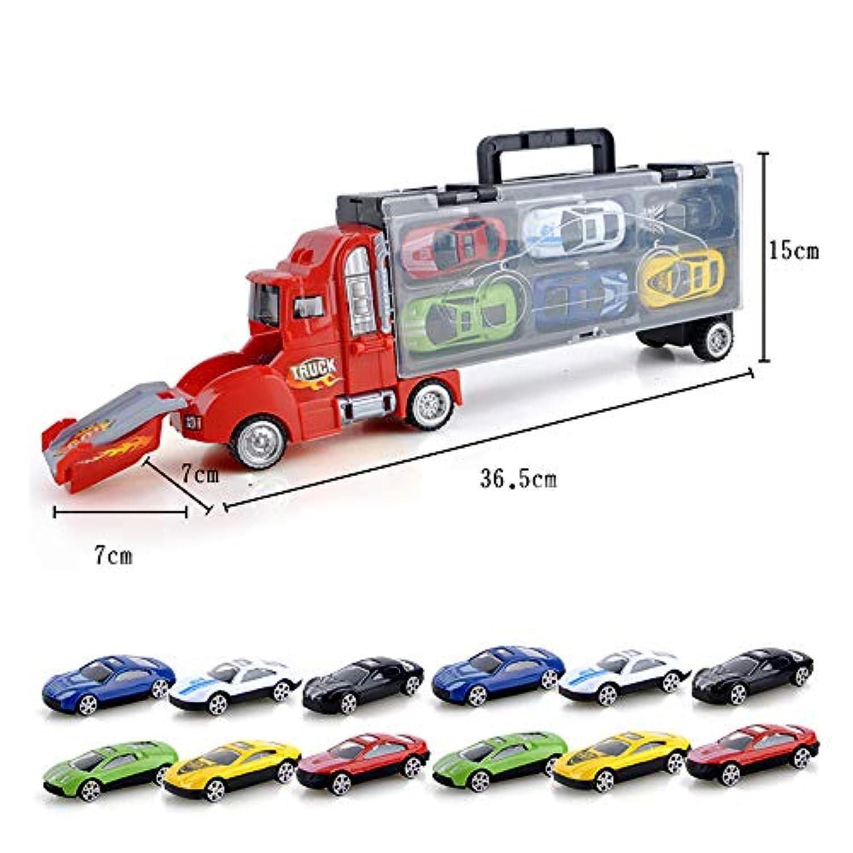 運搬車のキャリアトラック-ERENCOOKのカタパルトの戦いのコンテナトラックのポータブルストレージボックス男の子と女の子のための12の合金車のモデル (Red)