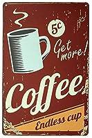 スミクコーヒーエンドレスカップ、金属ティンサイン、ヴィンテージアートポスタープラークキッチンカフェ家の壁の装飾
