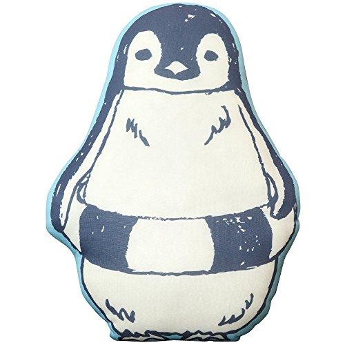 接触冷感 クッション 高さ約38cm ひんやり 選べる3種 ペンギン 猫 抱き枕 (ペンギン(ブルー))