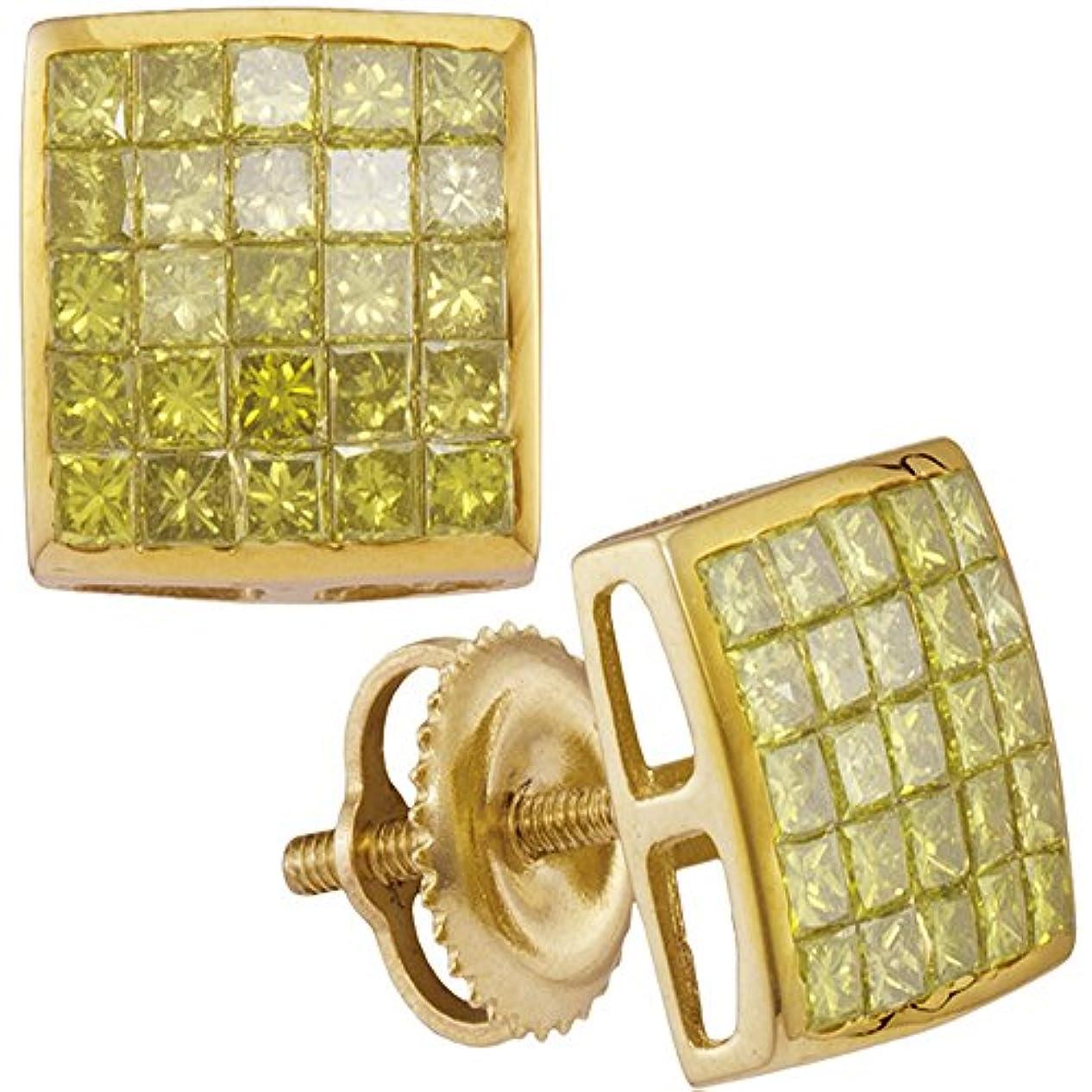 バー樫の木平方10 KTイエローゴールドメンズプリンセスイエローカラーEnhancedダイヤモンド正方形クラスタイヤリング1.00カラット