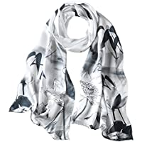 PAICY Women's 100% Mulberry Silk Scarf, Beautiful Nature Prints