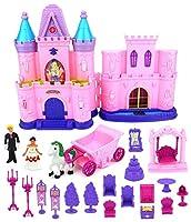 WG Toys 子供のお城 おもちゃ 人形 プレイセット 光 音 プリンス プリンセス フィギュア 馬車 城 プレイハウス 家具 アクセサリー (スタイルは異なる場合があります)