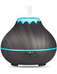 OliveTechミニアロマエッセンシャルオイルディフューザー 超音波 クールミスト 加湿器 色が変わるLEDライト 水が切れると自動切断機能あり オフィス ヨガ スパ 自宅 寝室 子供部屋 木目