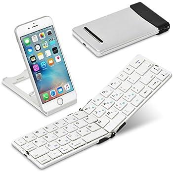 [超軽量134g] iPad&iPhone 用 キーボード Bookey© Pocket(ホワイト)・薄くて軽い 持ち運びに便利な折りたたみ式 Bluetoothワイヤレス ポータブルキーボード