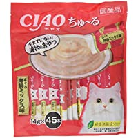 【Amazon.co.jp限定】 チャオ (CIAO) 猫用おやつ ちゅ~る まぐろ 海鮮ミックス味 14g×45本入