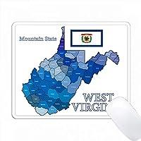 ウェストバージニア州の州名とニックネームを持つ旗国と郡の地図 PC Mouse Pad パソコン マウスパッド