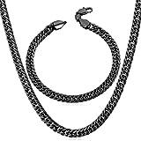 U7 ネックレスブレスレットセット メンズ 喜平チェーン 黒色メッキ 46~76cm ヒップホップ アクセサリー[NH843]