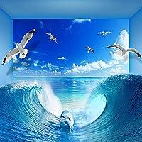 Ljunj カスタム壁紙用壁3Dブルーオーシャンビローカモメ壁画部屋の装飾テレビソファの背景不織壁カバー-350X250Cm