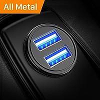 シガーソケットカーチャージャー 4.8A/24W usbシガーチャージャー 超小型 2USBポート 急速充電 usb車載充電器 iPhone Xs Max/Xs/8/7/6s/Plus、iPad Air 2/mini 3、Samsung Galaxy S9/S8/S7など対応 (ブラック)