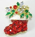 お洒落ななクリスマス ブローチ サンタ ツリー ベル 雪だるま ブーツ ソリ トナカイ キラキラ 飾り コスプレ かわいい (ブーツ)