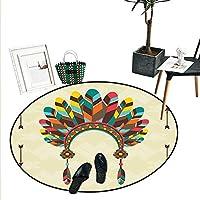 Ethnic Home Decor 円形ラグピーコックバード 東洋の羽根 東洋のスピリチュアルな動物の画像 ドアマット 屋内 バスルーム マット スモール ラウンド カーペット パープル グリーン ブルー D2'/0.6m