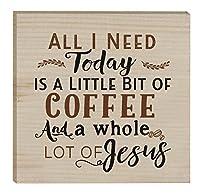 All I Need Is Coffee & Jesus 3X 3インチソリッドパインウッド素朴なマグネット