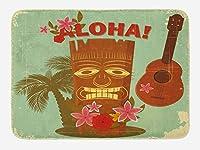 ヴィンテージハワイバスマット、オールドスクールハワイアンイメージマスクフローラルエレメントギターとヤシの木、豪華なバスルームインテリアマットノンスリップバッキング、アーモンドグリーン 75x45cm