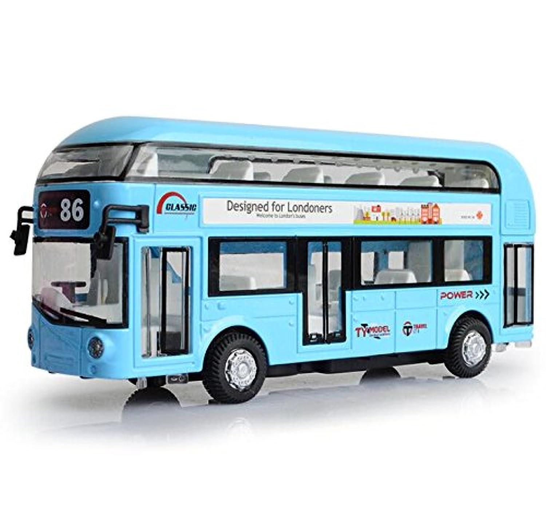 romirus Pull Back City Bus Toy 1 : 50スケール、ロンドンバスRoutemaster City Tourist Closed Top合金Diecast Vehicle withライトサウンドとドア、ボンネット、 ブルー Bus01-BE