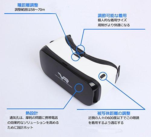 Cudevs 3D VRヘッドセット VRゴーグル VRメガネ 仮想現実 超3D映像効果 4.0 - 5.5インチのスマートフォンに対応