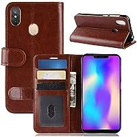 Leagoo S9 財布 シェル,Happon スタイリッシュ スリム PU レザー カバー 立つ 且つ カード ホルダー 財布 電話 カバー シェル 保護 シェル の Leagoo S9 -Brown