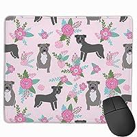 Pitbull Dog Floral - PitbullチーターキルトE、フローラルピンクとティール - ピンクマウスパッド 25 x 30 cm