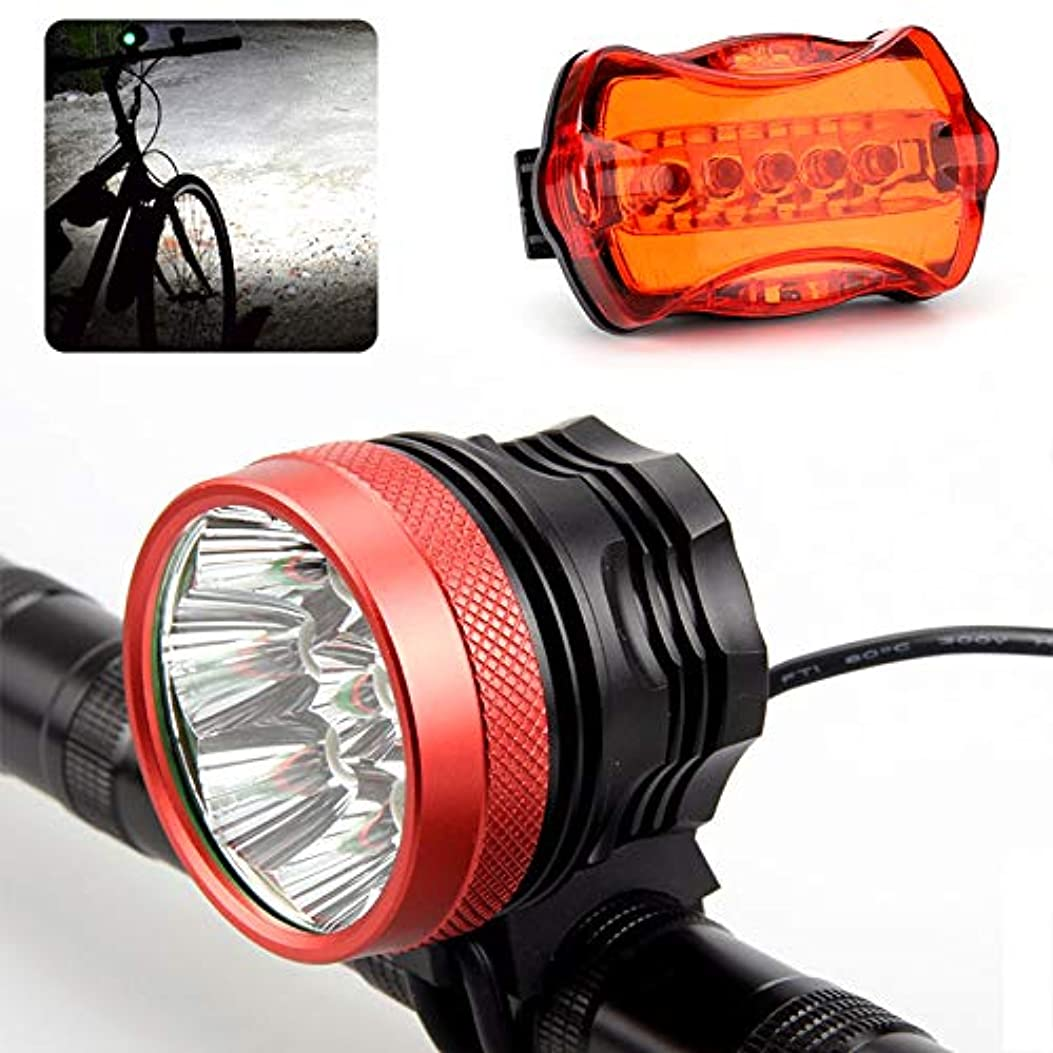 知覚できるやがて真面目な15000 Lumen Bike LED Headlight + Taillight (9 CREE XM-L T6 White LED, Head Strap, Rechargeable, 12000mAh)