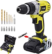 CACOOP 18V Lithium-Ion power Cordless Drill/Driver Set, With 1.5Ah Battery pack, 1 fast charger, 6 HSS wood dr