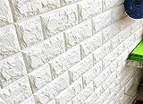 壁紙 レンガ シール クッションブリック 大判 立体 リメイクシート 壁 DIY リフォーム 77×70cm ホワイト
