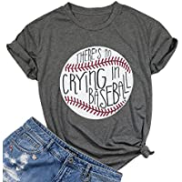 UNIQUEONE There's No Crying in Baseball Letter T-Shirt Women Short Sleeve Funny Blouse Tee Top