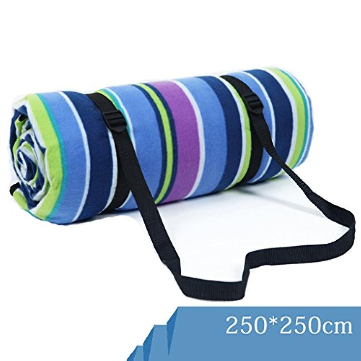 マーキー甘くする敏感なピクニックマット 屋外テント防湿パッド多くの人々キャンプ用マット250X250CM厚くする防水ピクニックマット (色 : Blue-violet stripes, サイズ さいず : 250*250cm)